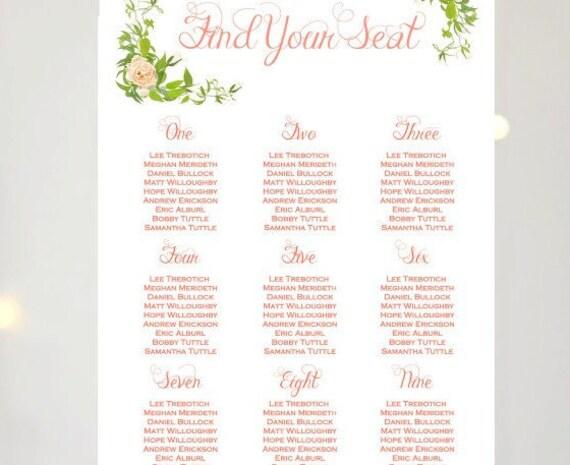 printable custom wedding seating chart coral wedding seating etsy