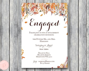 Autumn Printable Engagement Party Invitation, Personalized Invitation, Printable Wedding Invitation, Shower Invite WD84 TH47