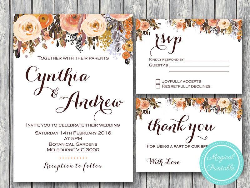 Free Sample Wedding Invites: Fall Wedding Invitation Set Wedding Invitation Printable