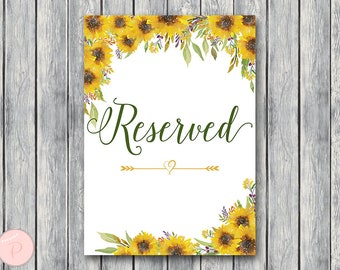 Sunflower Summer Reserved sign, Wedding Reserved seating sign, Table sign, Wedding sign, Printable sign, Wedding decoration sign TH80