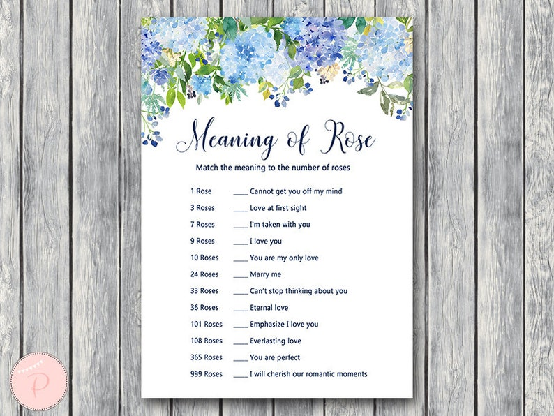 Hydrangea Meaning of Rose game printable, matching game, Bridal Shower  Games, Bachelorette, Wedding Shower Download TH84 z