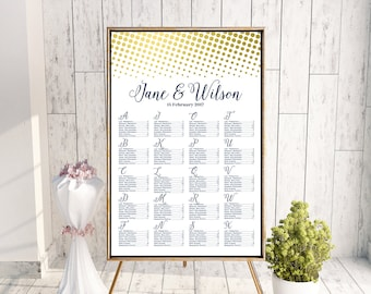 Alphabet Find your Seat Chart, Printable Wedding Seating Chart, Wedding Seating Poster, Wedding Seating, Wedding Seating Board WC159