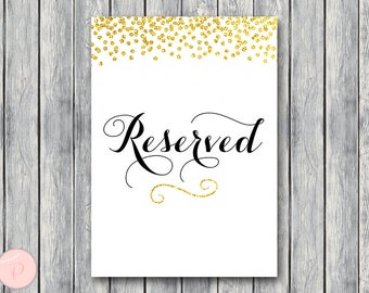 Gold Reserved sign, Wedding Reserved seating sign, Reserved table sign, Wedding sign, Printable sign, Wedding decoration sign WD47 Sign TH22
