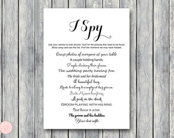 I Spy Wedding Scavenger Game, Wedding Game Printable, Wedding Scavenger Printable, Printable Game TG00 sign TH00
