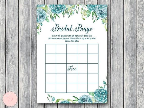 graphic regarding Printable Bridal Bingo called Teal Floral Bridal Shower Bingo, Printable Bridal Bingo, Present Product Bingo, Bridal shower recreation game, Printable Match TH77
