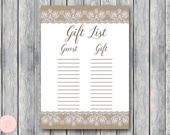 Burlap and Lace Gift List, Bridal Shower Gift List, Baby Shower Gift List, Guest list printable, Gift Checklist, Gift Tracker TH79