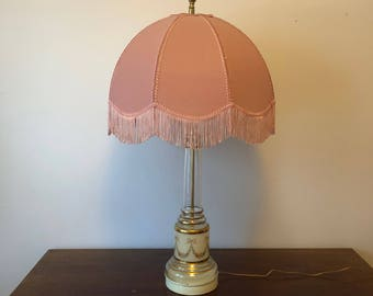 Large Vintage Lamp - Pink, Floral and Beautiful