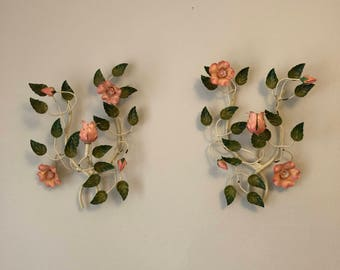 """Beautiful """"made in italy"""" Floral Candle Holders - Pair"""