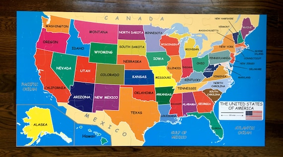 Puzzle Map Of The United States.Jumbo Size Floor Puzzle Map Of The Usa 4 X2 Etsy