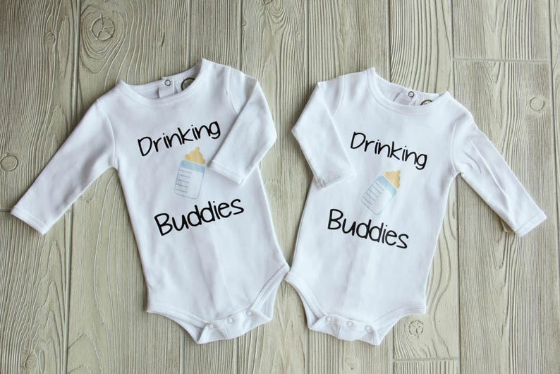 03a75a674 Drinking Buddies Onesies Twin Boys Twin Girls Twins | Etsy