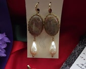 E-0520 - Gold-Plated Hoops with Vintage Autumn Jasper Cabochons and Vintage Glass Pearl Drops