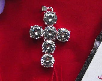 Item PE-0048 - 1-1/2 inch Silver Clear Crystal Cross