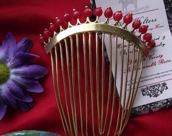 T-0100 - Brass Regency Comb, Georgian Tiara, Regency Coronet, Princess Josephine Tiara, Diadem, Georgian Comb, Red Coral Regency Comb