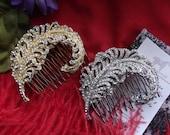 HA-0029 - Rhinestone Aigrette Hair Comb - Hair Jewelry, Georgian Aigrette, Wedding Aigrette, Feather Brooch