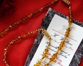 Item N-0095A - Faceted Cut Amber Glass - Inspired Martha Washington Necklace