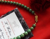 Item B-0051T - Green Turquoise Glass Necklace - Regency Necklace, Georgian Necklace, Peridot, Green, Silver