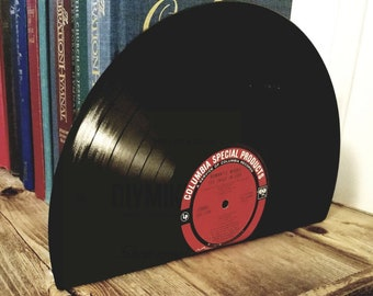 Vinyl Record Bookends - vinyl bookends for the music enthusiast add charm & warmth to any room.  Music decor music bookends for music lovers