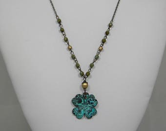 Verdigris Shamrock Necklace with Czech Green Picasso Beads