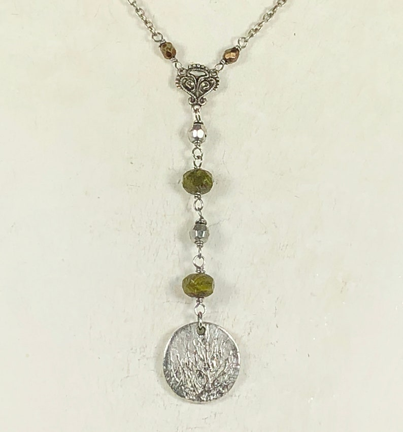 Tierra Cast Silver Tree Pendant with Czech Green Hurricane Beads and Silver Plated Spacer Beads