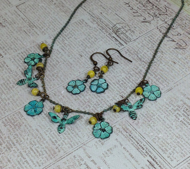 Verdigris Charm Necklace with Bees and Flowers Accented with Yellow Czech Beads and Matching  Earrings