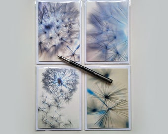 Dandelion Photo Greeting Cards, Blank for your own message, 4 card Multi pack