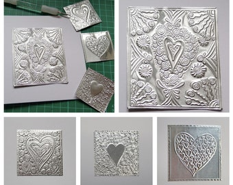 Heart Greeting Card, Handmade Embossed Metal Note Cards