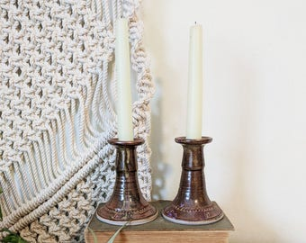Brown Ceramic Candleholders / Earthy Bohemian Candleholders