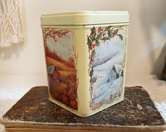 Four Seasons Tin, Vintage Tea Tin, Nut Tin, Vintage Kitchen, Kitchen Storage, Kitschy Kitchen, Midwestern Barn Decor, Rustic Ohio