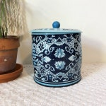 Vintage Tin, Tea Tin, Designed by Damer Tin, Vintage Kitchen, Round Tin, Kitchen Storage, Blue TIn, Blue Paisley