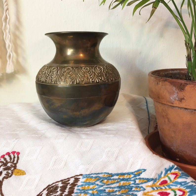 Brass Vase Carved Brass Vase Small Vintage Brass image 0