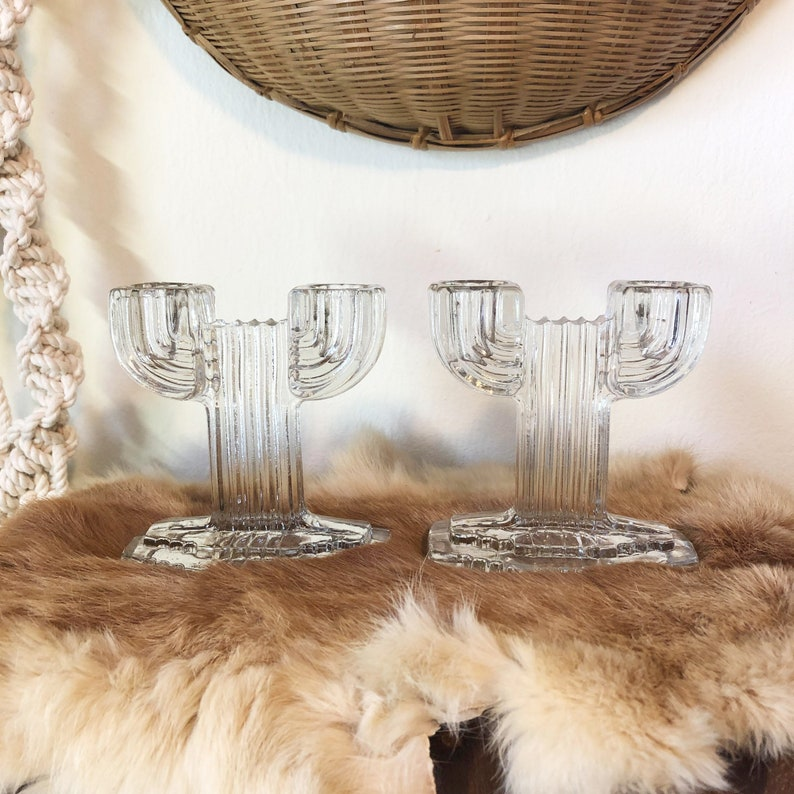 Glass Candle Holder Double Candle Holder Cactus Candle image 0