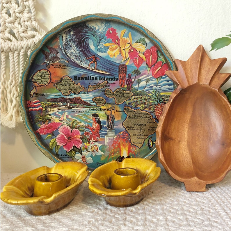 Vintage Hawaii Souvenir Tray Hawaiian Decorative Tray image 0