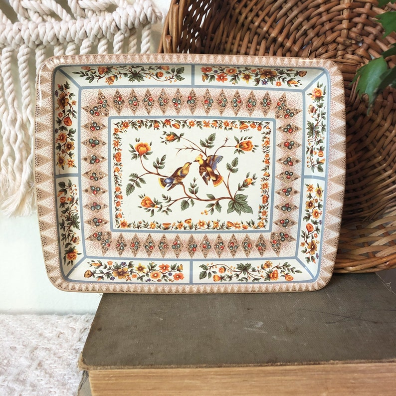 Cream Flower and Bird Tray Decorative Vintage Tray Small image 0