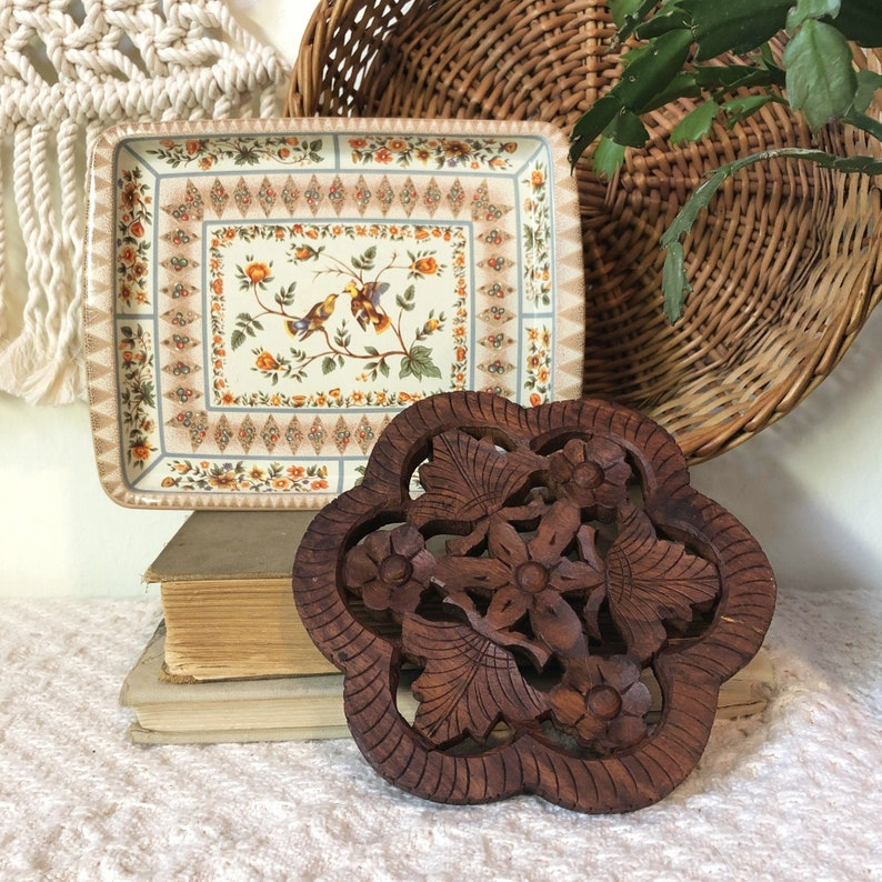 Wood Flower Trivet Hang Carved Wood Trivet Floral Leaf image 0