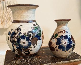 Pair of Vintage Tonala Signed Mexican Stoneware Pottery Vase, Mexican Folk Art, Stoneware Vases, Pair of Bird Vases