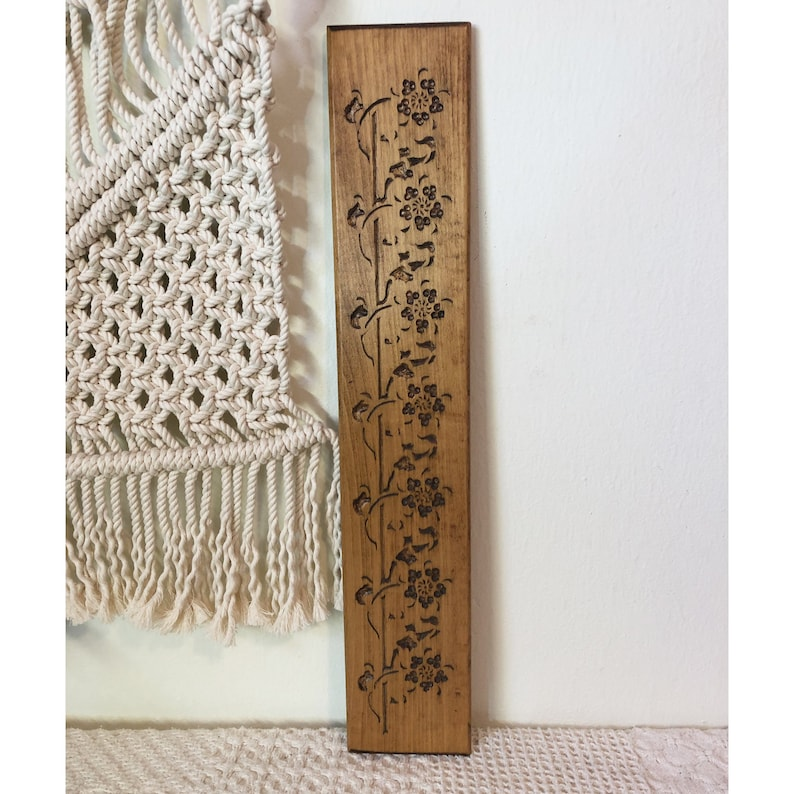 Flower Wall Hanging Wood Burned Decor Wood Burned Flower image 0