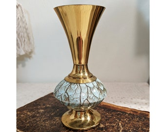 Vintage Aqua Delft Vase, Brass and Aqua Delft Vase, Midcentury Flower Vase, Midcentury Decor, Brass Decor