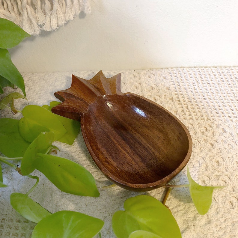 Vintage Wood Pineapple Bowl Pineapple Serving Bowl Genuine image 0