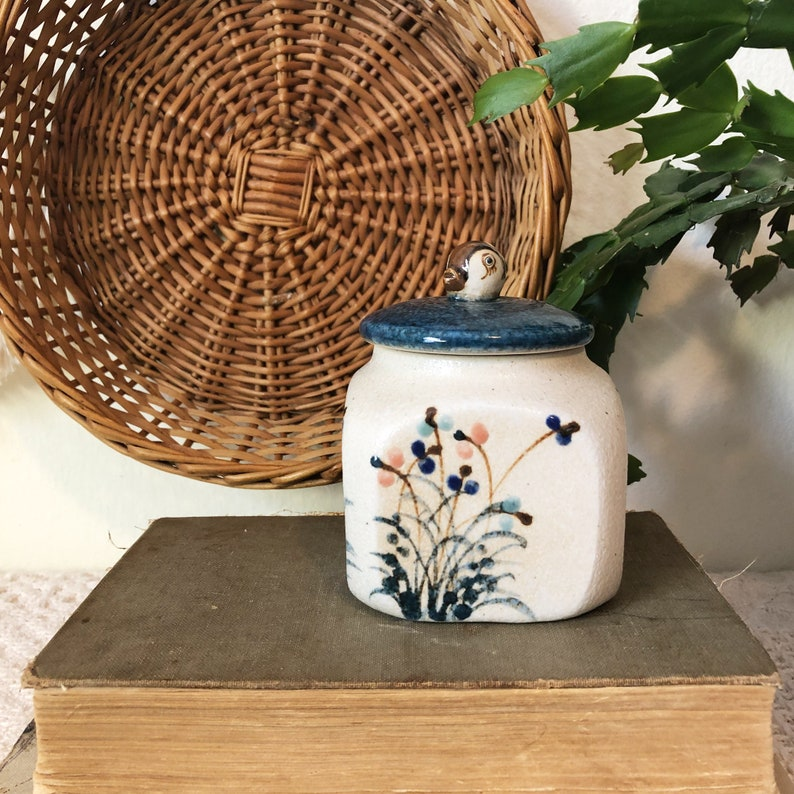 Ceramic Bird Jar Flower and Bird Ceramic Box Rustic image 0