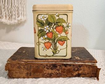 Vintage Strawberry Tin, Strawberry Candy Tin, Tea Tin, Strawberry Decor, Kitchen Decor, Strawberry Kitchen