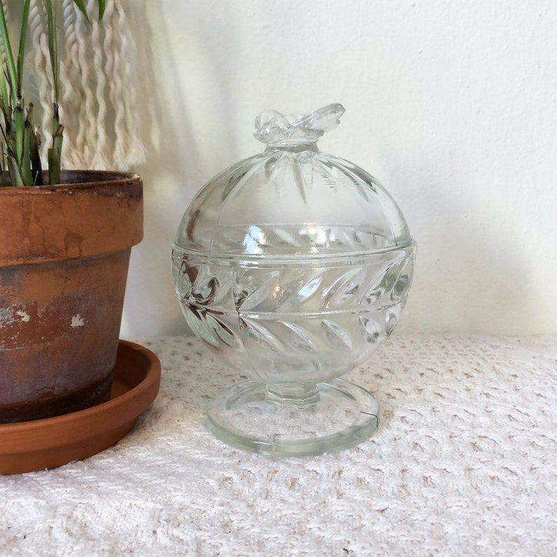 Clear Glass Candy Dish Bumble Bee Candy Dish Spring Dish image 0