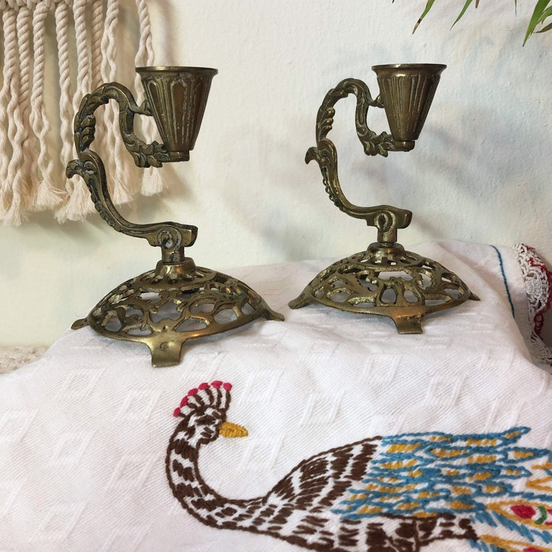Ornate Brass Candle Holders Victorian Brass Candle Holders image 0
