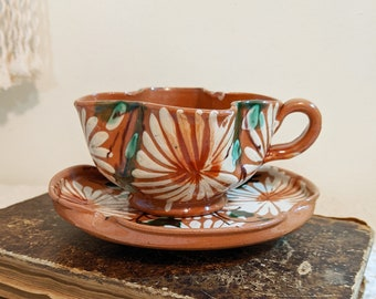 Decorative Cup and Saucer, Mexican Inspired Teacup and Saucer, Vintage Redware, Latin Folk Art, Teacup, Terra Cotta Teacup, Earthy Decor