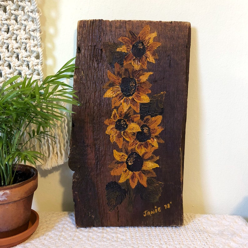 Hand-Painted Sunflower Wood Wall Hanging Sunflower Decor image 0