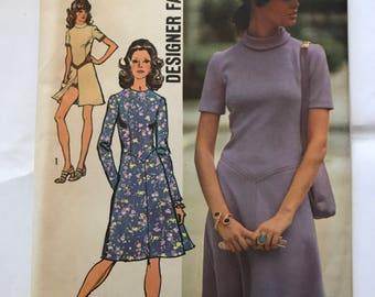 Vintage 1971 Simplicity Dress Pattern, Bust 36, Waist 27