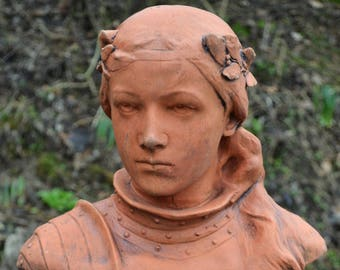 "Joan of Arc Jeanne d'Arc bust statue home or garden ornament 41cm/16"" High"