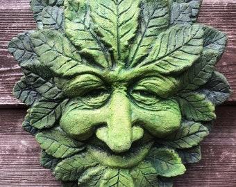 Green Man Green Spirit Garden Wall Plaque Sculpture Wiccan Pagan Decor