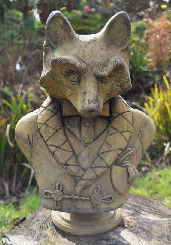 Charmant Fox Garden Ornament Bust Frost Proof Stone Statue Original | Etsy