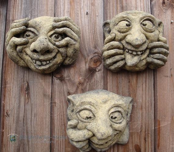 STONE GARDEN SET OF 3 SEE NO HEAR NO EVIL GARGOYLE GREMLIN FACE WALL PLAQUES