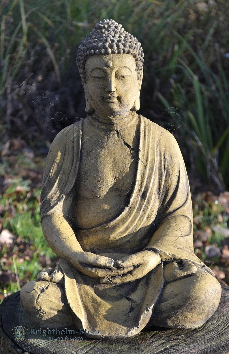 Thai Buddha Statue Haus Oder Im Garten Ornament Sitzen Meditieren 38cm 14 H